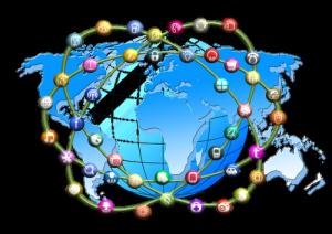 Weltkarte mit Diensten